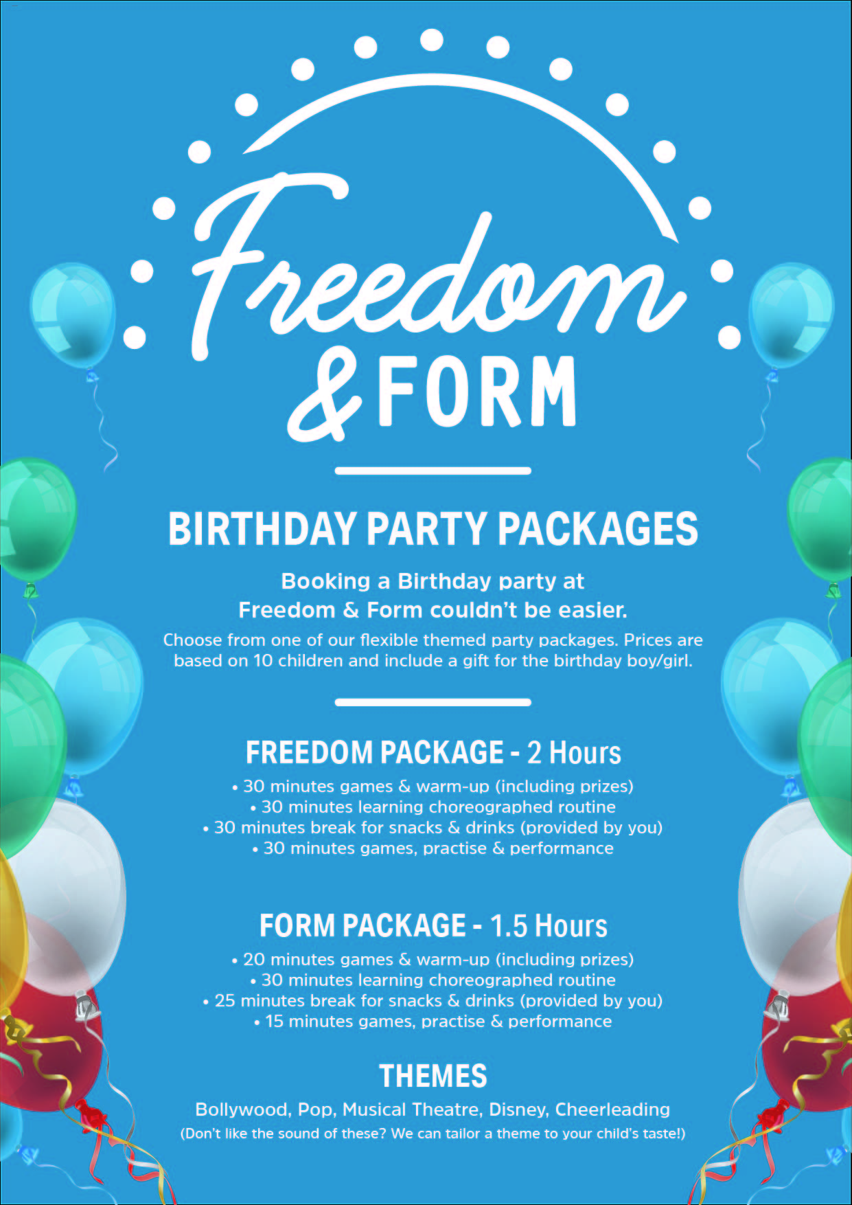 Freedom and Form birthday packages leaflet